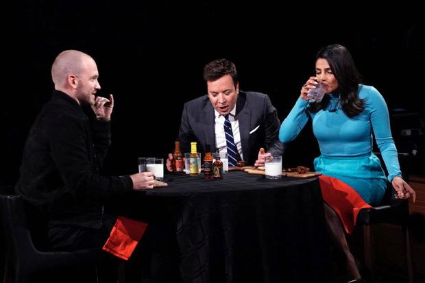 Priyanka Chopra eats spicy hot wings on The Tonight Show starring Jimmy Fallon