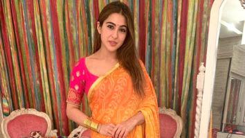 Saree-clad Sara Ali Khan celebrates Diwali with Varun Dhawan, Karan Johar, and Manish Malhotra