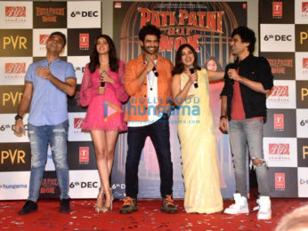 Photos Kartik Aaryan, Ananya Panday, Bhumi Pednekar and others snapped at Pati Patni Aur Woh trailer launch