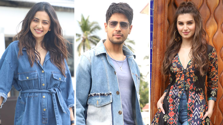 Tara Sutaria, Sidharth Malhotra & Rakul Preet Singh spotted promoting their Film Marjavaan