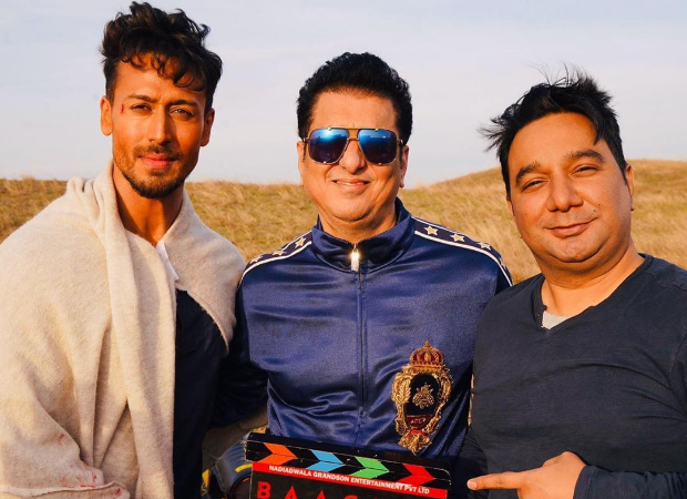 Tiger Shroff, Sajid Nadiadwala, Ahmed Khan are all smiles as they pose on the sets of Baaghi 3