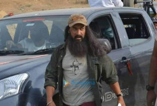 on the sets of the movie Laal Singh Chaddha