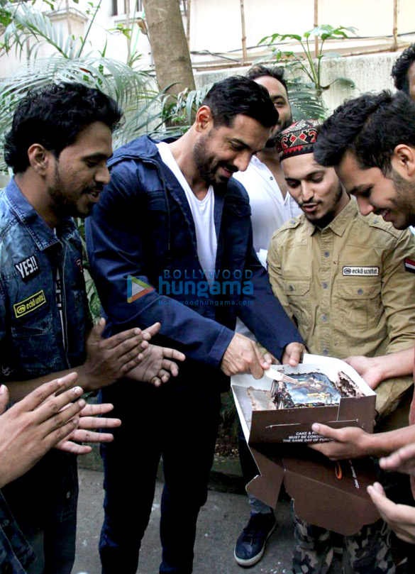 Photos: John Abraham celebrates his birthday with fans at his office in Bandra