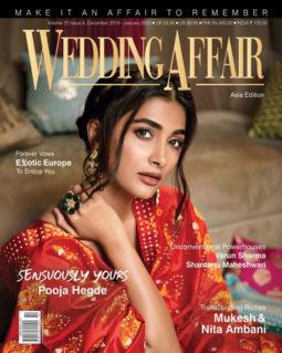 Pooja Hegde on the cover of Wedding Affair, Dec 2019