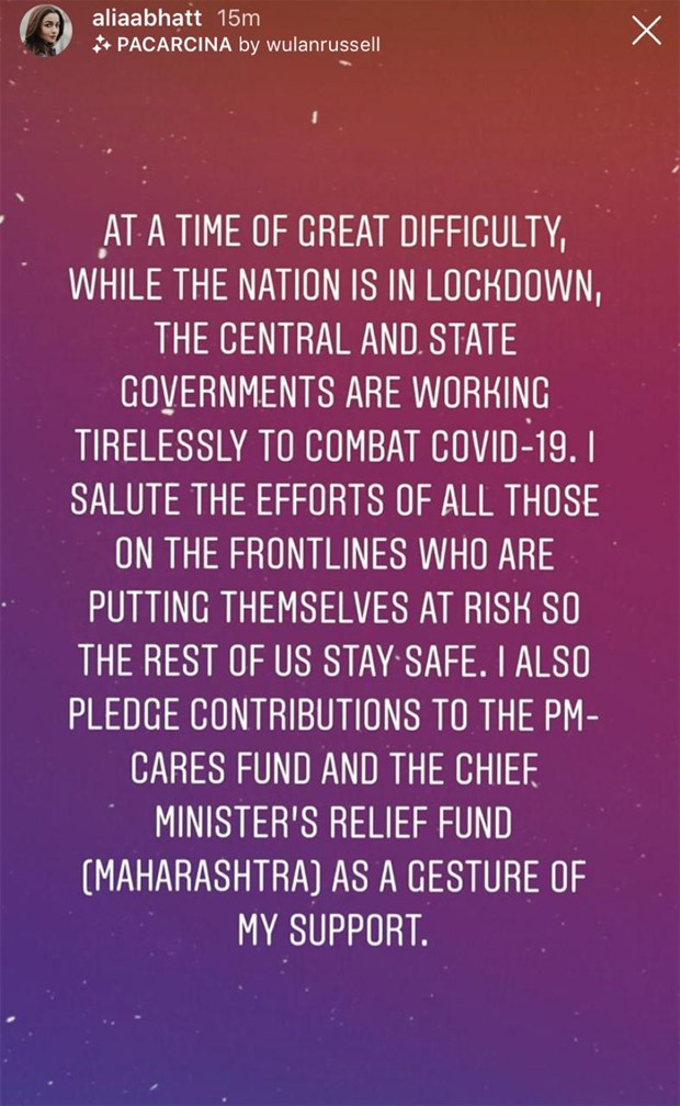 Alia Bhatt pledges to donate to PM-CARES and CM Relief Fund amid coronavirus pandemic