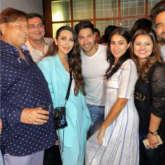 Varun Dhawan and Sara Ali Khan strike a pose with original Coolie No 1 girl Karisma Kapoor at wrap up party