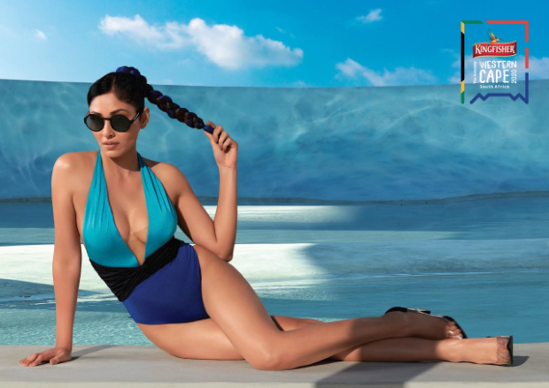 Former Miss India, Pooja Chopra sizzles in monokinis and bikinis for the Kingfisher Calendar 2020