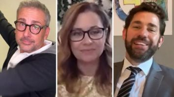 Steve Carell, Jenna Fischer, John Krasinski and The Office cast reunite to recreate's epic wedding scene to surprise newlywed couple on Some Good News