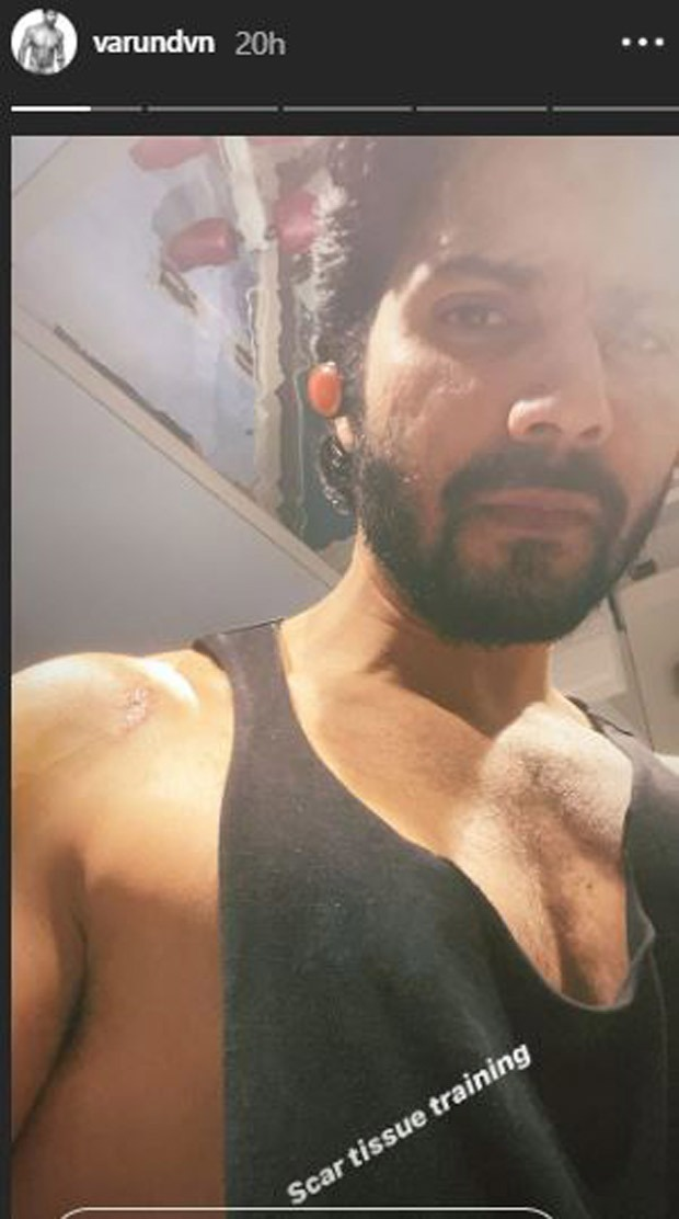 Varun Dhawan clicks a selfie after his scar tissue training session