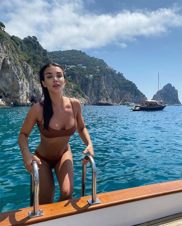 Amy Jackson stuns in brown two piece bikini whilst swimming in Capri