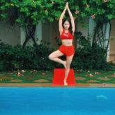 Sara Ali Khan enjoys yoga session by the swimming pool