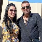 Sanjay Dutt and Maanayata Dutt strike a pose during their Dubai vacation