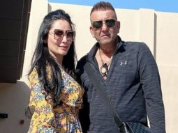 Sanjay Dutt and Maanayata Dutt strike a pose during their Dubai vacation