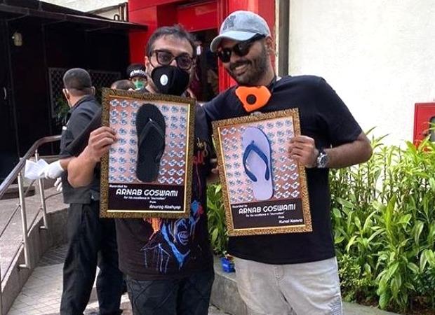 Anurag Kashyap and Kunal Kamra pose outside Arnab Goswami's Republic TV office