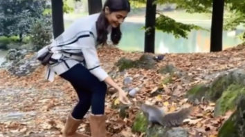 Pooja Hegde feeds nuts to a squirrel amid shooting Radhe Shyam in Italy