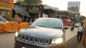 Rhea Chakraborty arrives at her home