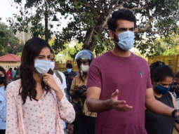 Ananya Panday and Dhairrya Karwa spotted at Gateway of India