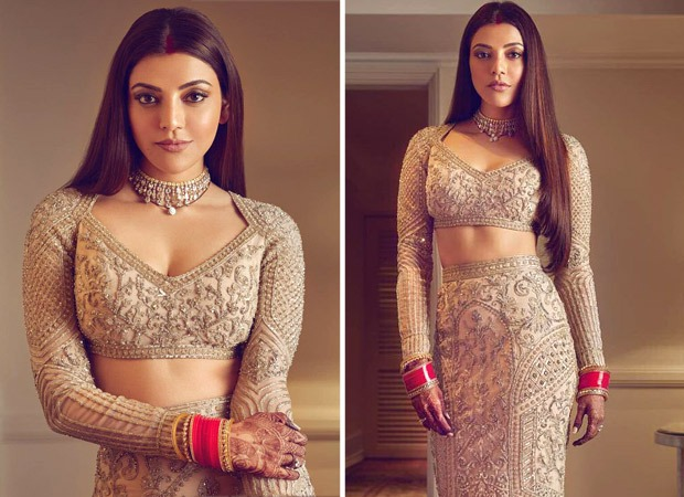 Kajal Aggarwal aesthetically balances a traditional and modern look in a Falguni Shane Peacock outfit for the after party