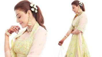 Kajal Aggarwal looks gracefully exquisite in a custom-made Anita Dongre lehenga for Gaur Pooja