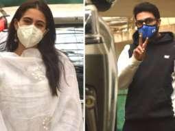 Sara Ali Khan and Abhishek Bachchan spotted at Dubbing studio in Juhu