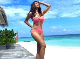 Sophie Choudry is breathtaking in a pink monokini as she poses on the beach in Maldives