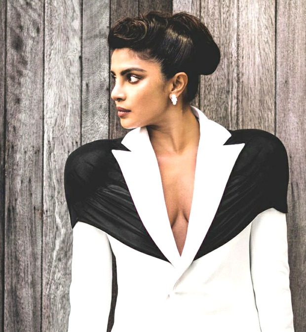 Priyanka Chopra slays in plunging neckline monochrome Kaushik Velendra powersuit