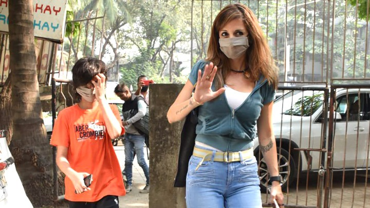 Sussanne Khan along with her son spotted at Kromakay salon in Juhu