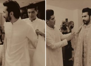 Manish Malhotra captures the moments of dressing groom Varun Dhawan up for his wedding with Natasha Dalal