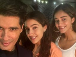 Sara Ali Khan and Ananya Panday pose happily with Manish Malhotra at Karan Johar's house party