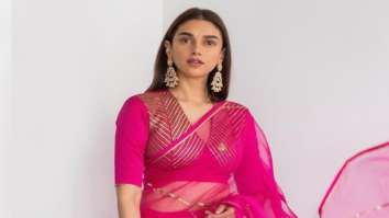Aditi Rao Hydari looked resplendent in Raw Mango sheer and vibrant pink saree at Dia Mirza's wedding