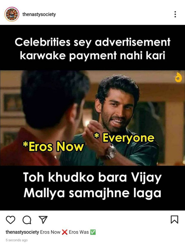 After Eros Now defaults on payments, disgruntled vendor resorts to memes; compares the company to Vijay Mallya