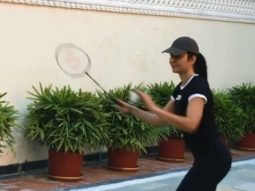 Katrina Kaif and Siddhant Chaturvedi indulge in a game of Badminton the sets of PhoneBhoot