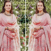 Newlywed Dia Mirza opts for pastel pink Anita Dongre anarkali set for post wedding celebration