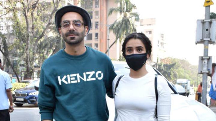 Sanya Malhotra and Aparshakti Khurrana spotted at Juhu