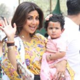 Shilpa Shetty and daughter Samisha pose for the paparazzi after their visit to Siddhivinayak temple with their family