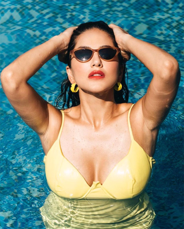 Sunny Leone sets the temperature soaring in yellow swimsuit