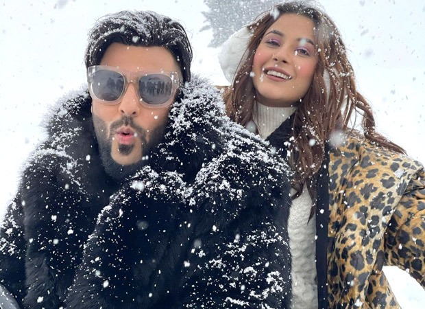 Badshah and Shehnaaz Gill pose in the snow in Kashmir as they shoot for their music video