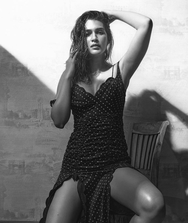 Kriti Sanon's thigh-high slit scallop rouched dress should be your next dinner date outfit
