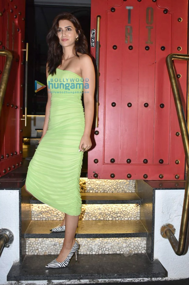 Kriti Sanon's one-shoulder lime green bodycon dress is a great alternative for typical date night outfits