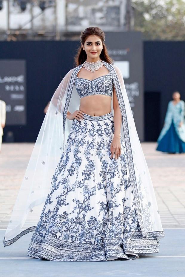 Pooja Hegde looks elegant and elusive in glitzy lehenga by Varun Chakkilam at Lakme Fashion Week 2021