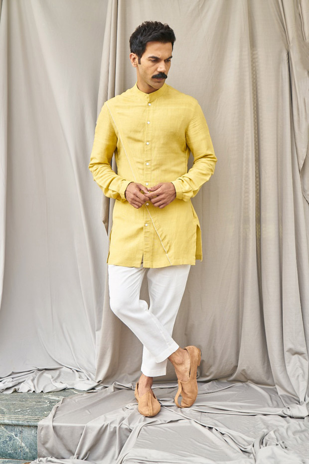 Rajkummar Rao's yellow panel shirt and white pants worth Rs. 9900 are perfect for haldi ceremony