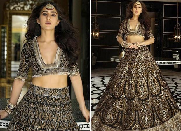 Sara Ali Khan is enigmatic and elusive in black and gold embellished lehenga from Manish Malhotra's mystique Nooraniyat collection