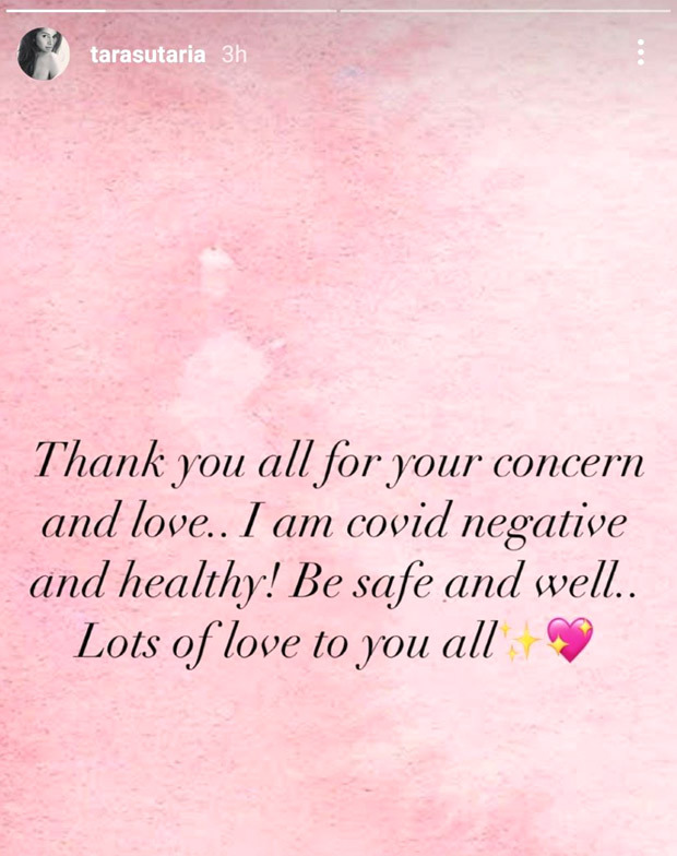 Tara Sutaria confirms she has tested negative for COVID-19