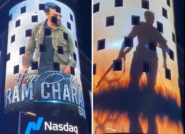 Ram Charan's popular movie looks displayed at New York's Times Square on his birthday