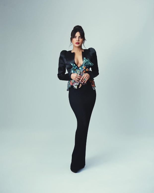 BAFTAs 2021:Priyanka Chopra makes bold statement in plunging neckline jacket and skirt by Ronald van der Kemp