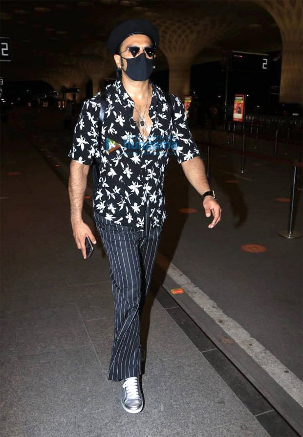 Ranveer Singh gives major style inspiration in floral black shirt, striped trousers and a beret
