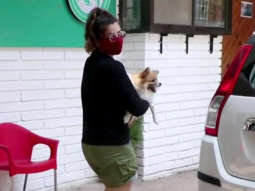 Raveena Tandon with her pet dog spotted at a clinic in Bandra