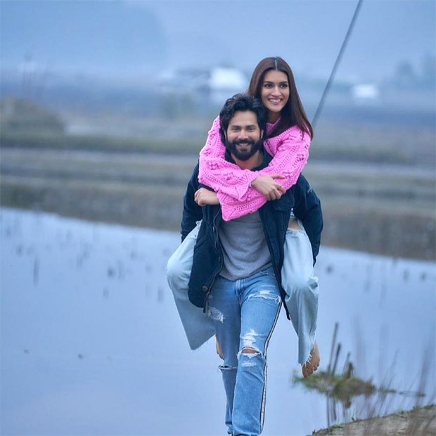 Varun Dhawan gives piggyback ride to Kriti Sanon as she wraps Arunachal Pradesh schedule of Bhediya