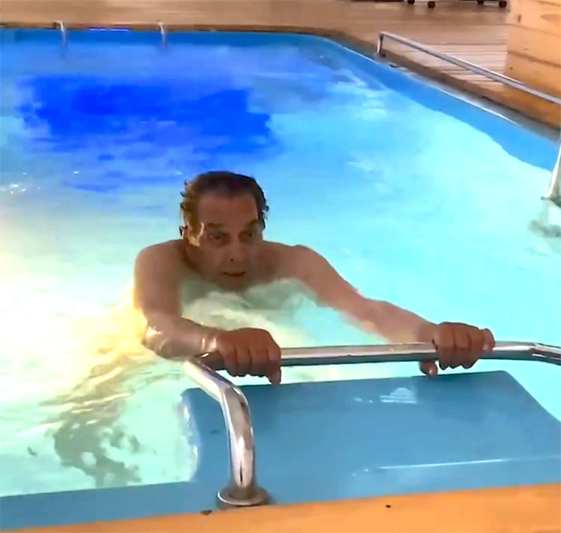 Dharmendra shares a glimpse performing water aerobics on this International Yoga Day