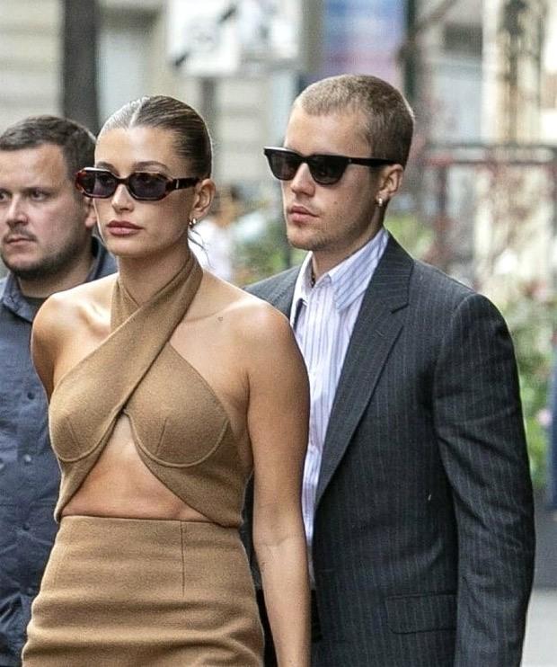 Justin Bieber looks sharp in suit, Hailey Bieber exudes panache in bandage dress